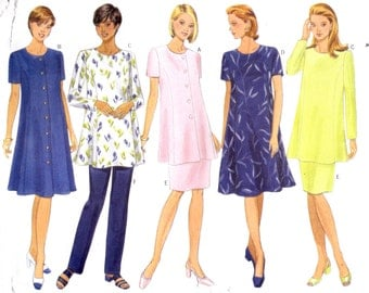 "Maternity Dress or Tunic Top, Pants or Skirt Size 6-10 Bust 30.5-32.5"" Butterick 5376 Womens Sewing Pattern"
