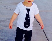 Boy, baby, tween summer SHIRT with classy navy blue tie wtih nautical anchors applique- fun for summer pictures - size NB - 16