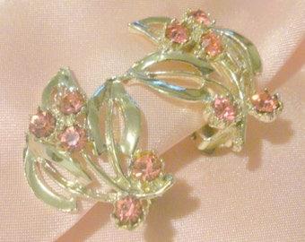 Vintage Pink Rhinestone Leaf Earrings