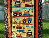 Construction Equipment Dump Truck Backhoe Baby, Crib or Lap Quilt Blanket
