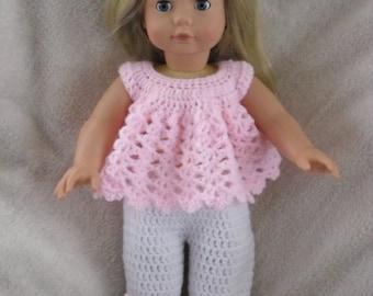 Crochet pattern for pyjamas and slippers for 18 inch American Girl Gotz doll