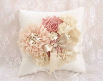 Victorian Rose Gold Ring Bearer Pillow, Wedding Pillow,  Vintage Ring Pillow Blush, Champagne and Rose