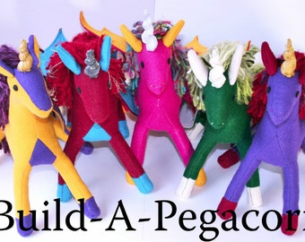 Build-A-Pegacorn, Personalized Plush Pegacorn Toy, Eco Friendly, Handmade-to-Order Stuffed Pegacorn, Custom Plush Animal, Pegasus Unicorn