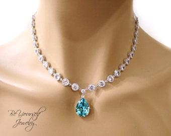 Teal Blue Bridal Necklace Sea Green Teardrop Bride Necklace Swarovski Crystal Light Turquoise Wedding Jewelry Cubic Zirconia Something Blue