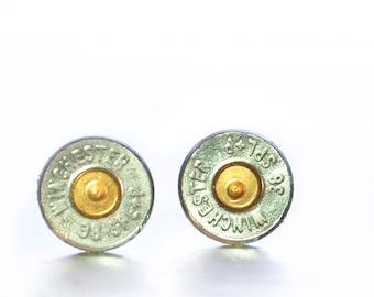 Bullet Stud Earrings - Silver