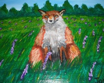 Fox in Field of Lupines / Fox Painting / Acrylic Painting / Canvas Panel 8x10 inches