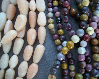 "MOOKAITE or ORANGE CALCITE Beads ~ 8mm Rounds ~ Teardrop Ovals 1/2 or Full Strand 16"" ~ Natural Gemstones"