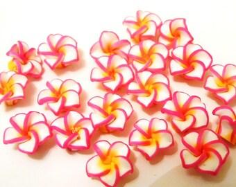 20 White Fuschia Yellow Polymer Clay Flowers Beads 15mm