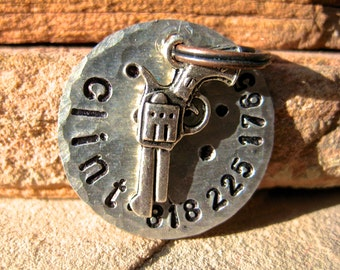 The Clint (#088) - Unique Handstamped Dog Tag Antique Brass Bone Pet ID Tag Dogs
