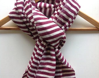 Scarves & Wraps- Burgundy and white stripe Wool and cotton mix Scarf-Maroon woven mens wool scarf- Burgundy Woven's scarf- Ethiopian scarves