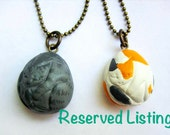 Reserved listing - Custom Nekomata Cat Pebble Totem Necklace - hand painted paper clay charm