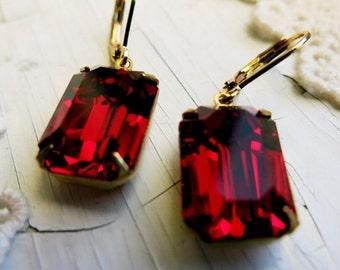 Vintage Ruby Earrings Garnet Earrings Art Deco Earrings Bridal Jewelry Red Earrings Gift for Her Estate Style Earrings