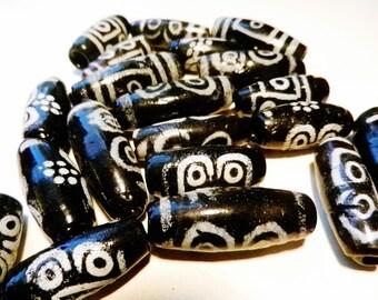 20  DZI Black & White~ Furnace Wound Glass Beads 5 EYED India-New-Vintage-1970's