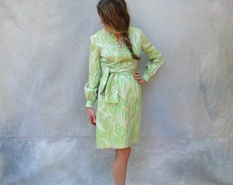 1960s green and silver metallic cocktail dress - 60s Mod Leslie Fay Original mini party dress