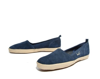 7 N | Vintage KEDS Sneakers Blue Suede Shoes Loafer