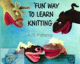 PDF Knitting Pattern Learn To Knit - Tips and 8 Designs Of Puppet Mittens  - Instant Download