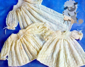 PDF Knitting Pattern for a Ribbon Trimmed Christening Gown and Jacket - Instant Download
