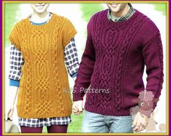 Knitting Pattern Gilet Aran : Tunic tabard Etsy