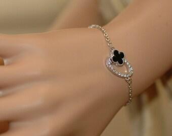 Clover Bracelet, Four Leaf Black enamel Clover Charm, Black and Silver clover bracelet,  Gift for her