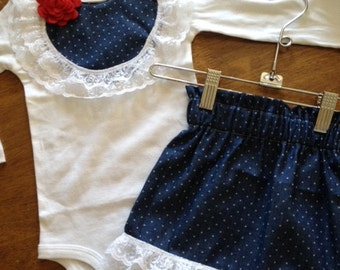Polka dot denim lace shirt or bodysuit with matching skirt with detachable bow Any Size newborn to 24 months Bodysuit or shirt size 2 4 or 6