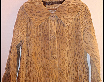 Cheetah LEATHER Jacket Size Medium to Large Fully Lined Sailor's Collar