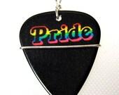 Gay Pride Guitar Pick Necklace