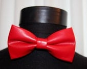 Red Mens bow tie - Red Faux leather bow tie - leather bow tie - Mens bowtie - Pre tied bow tie - Preppy bow tie