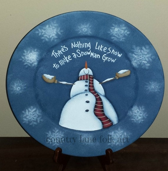 Painting Church In Snow Religious Christmas Ceramic: Decorative Plate Hand Painted Snowman Plate There's