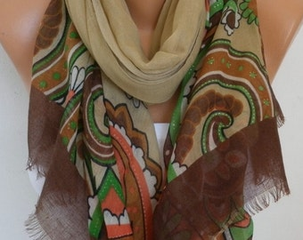 Beige Floral  Cotton Scarf,Summer Fall Shawl Cowl Oversize Wrap Pareo Gift For Her Women Fashion Accessories Mother Birthday Gift Scarves