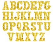 Instant Download, Digital Gold Foil Invitation Alphabet Clipart Set, Commercial Use Allowed