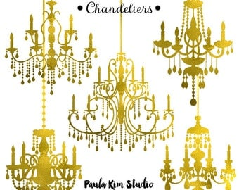 80% OFF SALE Gold Foil Chandelier Clipart, Wedding Clip Art, Instant Download, Commercial Use