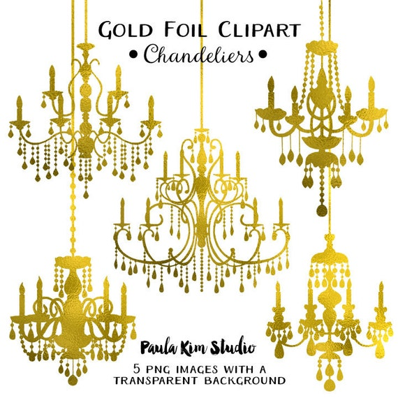 Gold Foil Chandelier Clipart Wedding Clip Art Instant Download