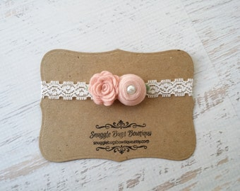 Mixed Felt Flower Duet Bouquet in Vintage Pinks - Photo Prop - Lace Elastic Headband