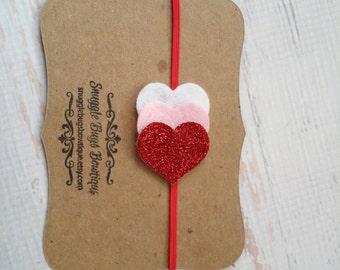 Sale-- Mini Glitter Heart Trio Headband - Valentine's Day Headband