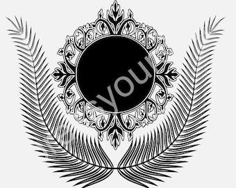 SVG, Ornate frame with ferns SVG and DXF digital file