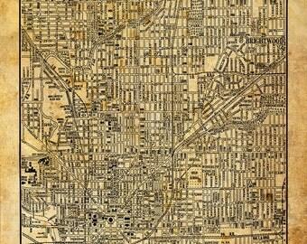 Indianapolis Indiana Street Map Vintage Sepia Grunge Print Poster