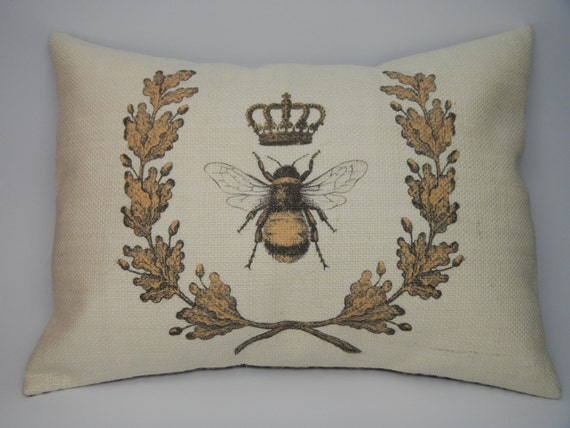 Shabby Chic Burlap Pillows : Queen Bee wreath Burlap Pillow Shabby by PolkadotApplePillows