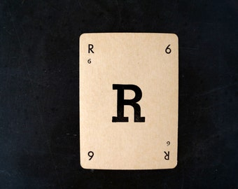 "Vintage Alphabet Card Letter ""R"" Black and White, 3-1/2 inches tall (c.1937) - Wedding Table Letter, DIY Garland Cards"