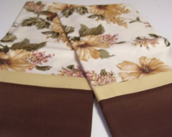 Pair of Hand Sewn Pillowcases  Standard Size  Beige and Brown Floral Print