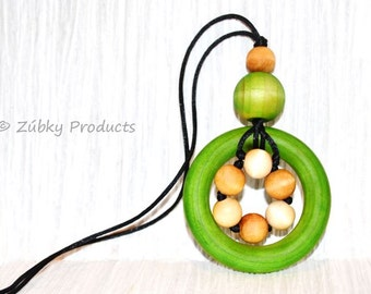 "Natural Green Wooden Teething Necklace for Nursing Breastfeeding Babywearing Mamas ""Spring"" by Zúbky"