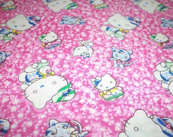 "Hello Kitty Fabric ""pretty In Pink"" 16"" X 16"" Square Continuous Fabric Available"