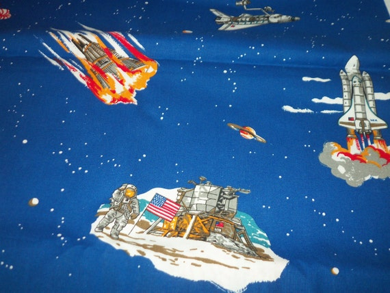 Space exploration fabric moon landing moon rover space shuttle for Space shuttle fabric