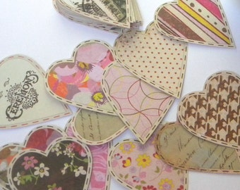 12 Paper heart embellishments - Printed paper hearts - gift tags - favor tags - embellishments - scrap booking - card making - supplies
