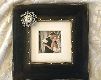 Grey Linen Elegant Square Wedding Frame W Bow Amp By
