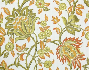 Retro Wallpaper by the Yard 70s Vintage Wallpaper – 1970s Green and Orange Floral Chintz on White