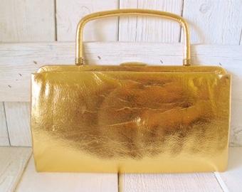 Vintage purse gold lame convertible clutch handle glamorous Paray handbag 1950s - free shipping US