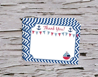 Nautical Thank You Note - Instant Download - Baby Boy - DIY- Print at Home - Navy - Red -White -Sailboat