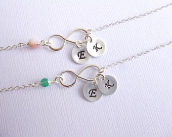 Set of Two Sterling Silver Infinity Birthstone and Initial Bracelets -- Friendship -- Mothers -- Sisters