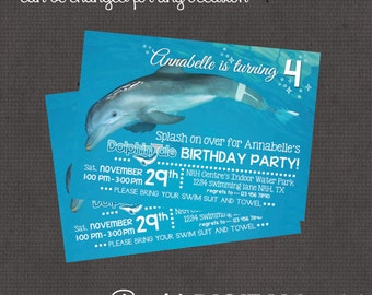 Dolphin Tale Invitation 4x6 or 5x7 digital you print your own- Design 218