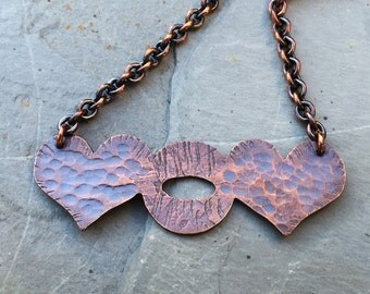 Love U So Necklace - Hammered Copper Necklace